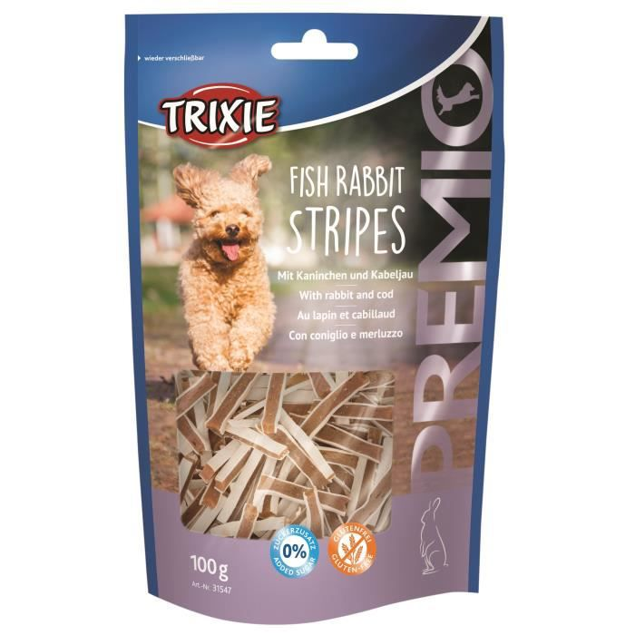 TRIXIE Fish Rabbit Stripes Premio - 100g - Pour chien