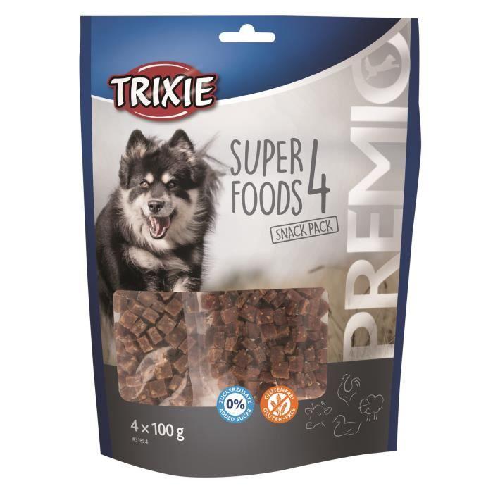 TRIXIE PREMIO 4 Superfoods - Poulet, canard, bœuf, agneau - 4 x 100 g - Pour chien