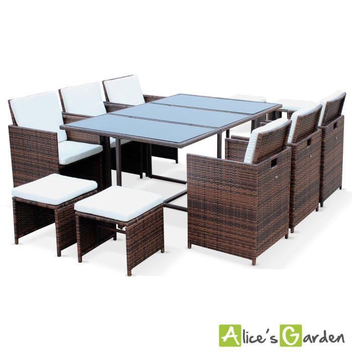 Salon de jardin Berceto Chocolat table en résine tressée 6 à ...