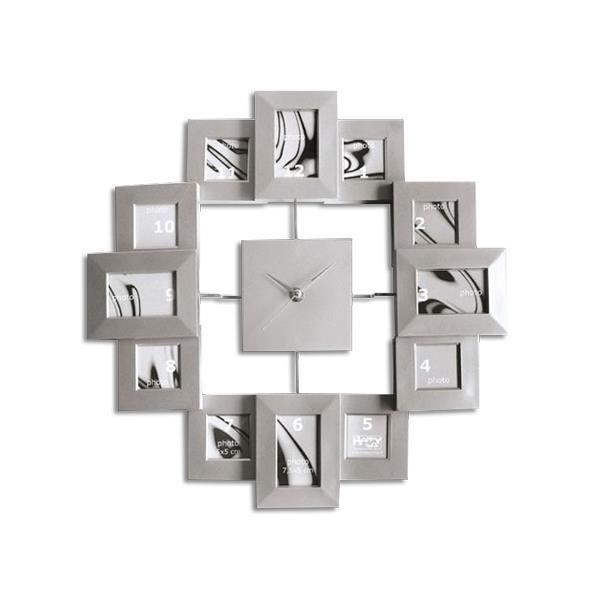 horloge murale avec 12 cadres photos deco maison design insolite achat vente horloge cdiscount. Black Bedroom Furniture Sets. Home Design Ideas