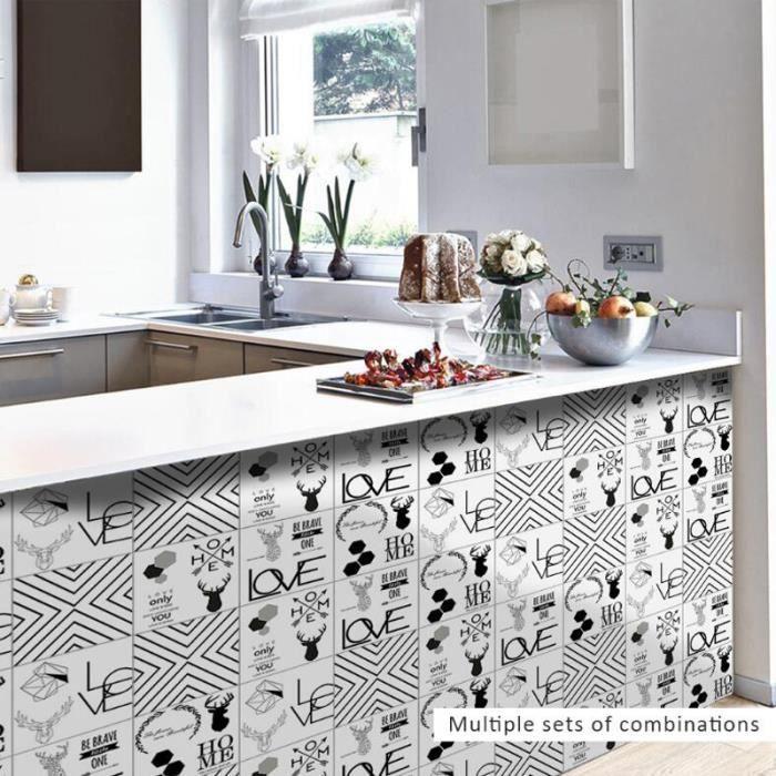 Salle De Bains Décor Nordique Élément stickers Carrelage Stickers Muraux  Accueil Cuisine Décoration Étanche Papier Peint Stickers Mu