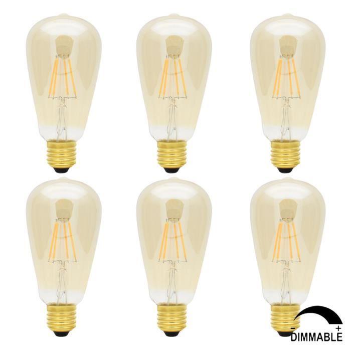 6x St64 D Or Retro Ampoule Led Dimmable E27 4w Edison Style