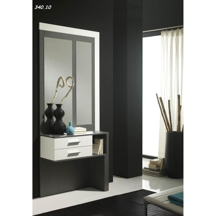 console avec miroir clara 18 10 cendr blanc achat vente console console avec miroir. Black Bedroom Furniture Sets. Home Design Ideas