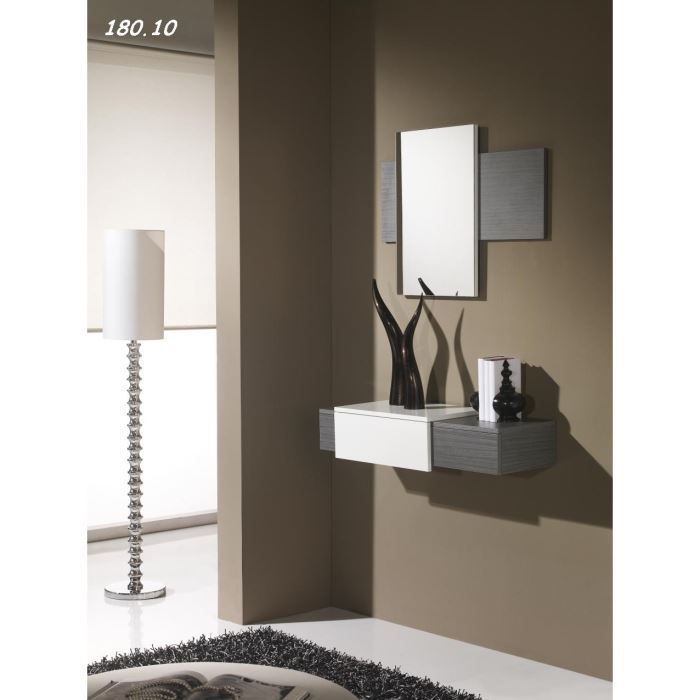 console avec miroir firaco 08 10 cendr blanc achat vente console console avec miroir. Black Bedroom Furniture Sets. Home Design Ideas