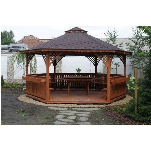 pavillon de jardin hexagonale en bois 5m achat vente kiosque gazebo pavillon de jardin. Black Bedroom Furniture Sets. Home Design Ideas