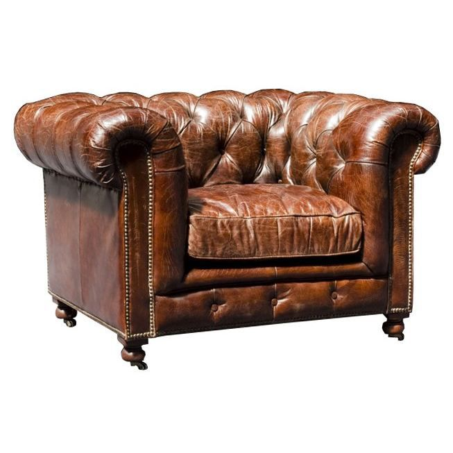 fauteuil chesterfield en cuir v ritable marron achat vente fauteuil mati re de la structure. Black Bedroom Furniture Sets. Home Design Ideas