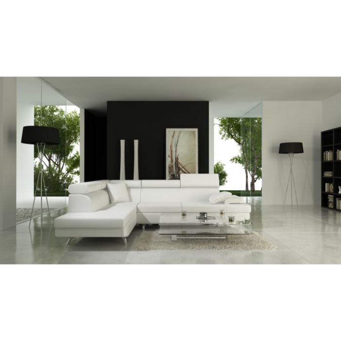 salon d 39 angle miami blanc angle gauche achat vente salon complet cdiscount. Black Bedroom Furniture Sets. Home Design Ideas