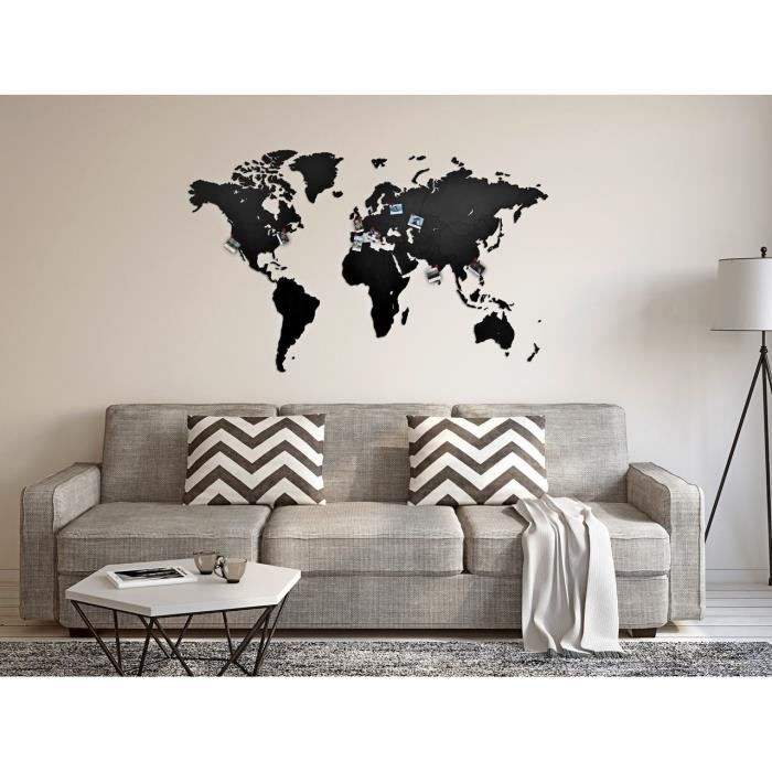 Decoration Murale Luxueuse Carte Du Monde En Bois 130 X 78 Cm Noir
