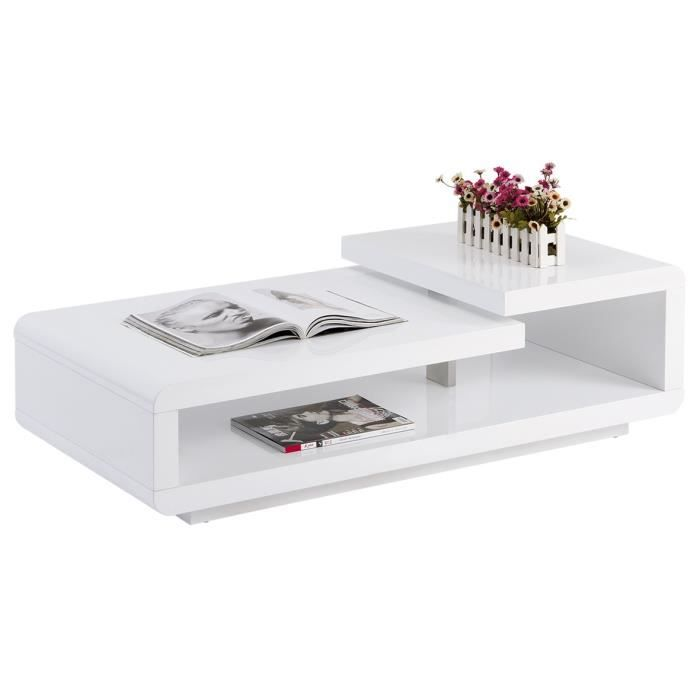 Table de salon contemporaine blanc laqu achat vente for Table de salon blanc laque