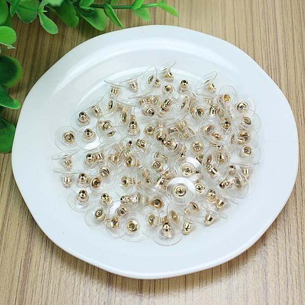 100 X Plugs bouchon en plastique pour boucles doreilles 11 x 6mm R SODIAL