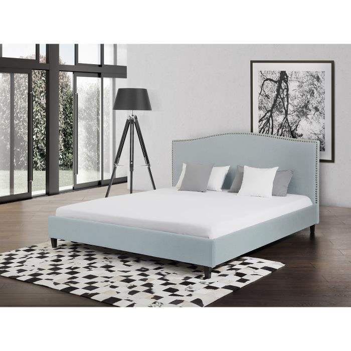 lit en tissu lit double 140x200 cm bleu clair. Black Bedroom Furniture Sets. Home Design Ideas