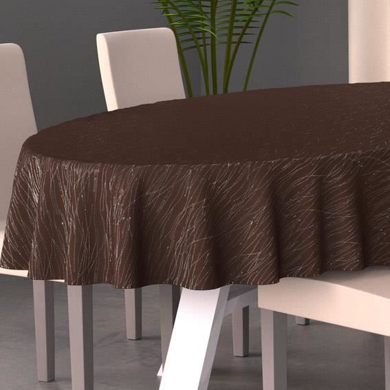 nappe ovale l230 cm glitter chocolat achat vente nappe de table cdiscount. Black Bedroom Furniture Sets. Home Design Ideas