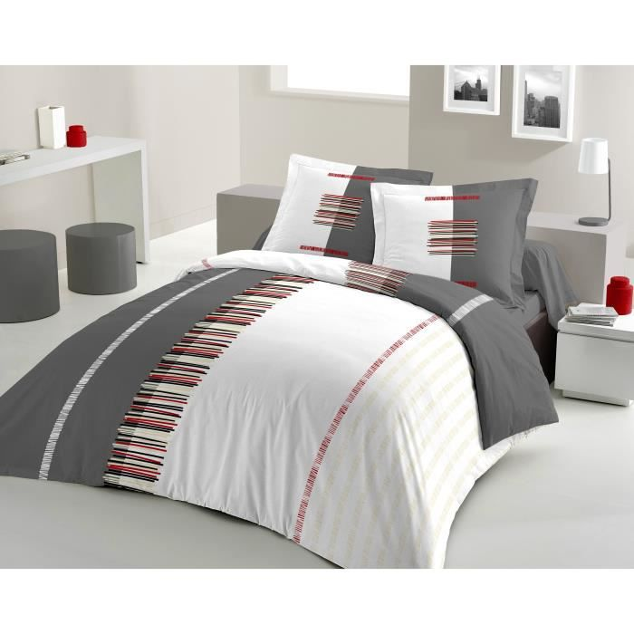 housse de couette pertinence 220x240cm gris achat vente parure de couette cdiscount. Black Bedroom Furniture Sets. Home Design Ideas