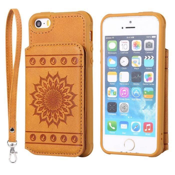 coque iphone 5s 5 se jaune mandala motif 3 cuir pr