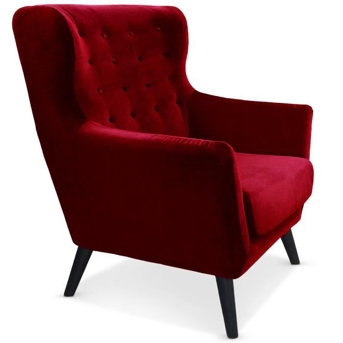 fauteuil scandinave depalma velours rouge achat vente fauteuil rouge cdiscount. Black Bedroom Furniture Sets. Home Design Ideas