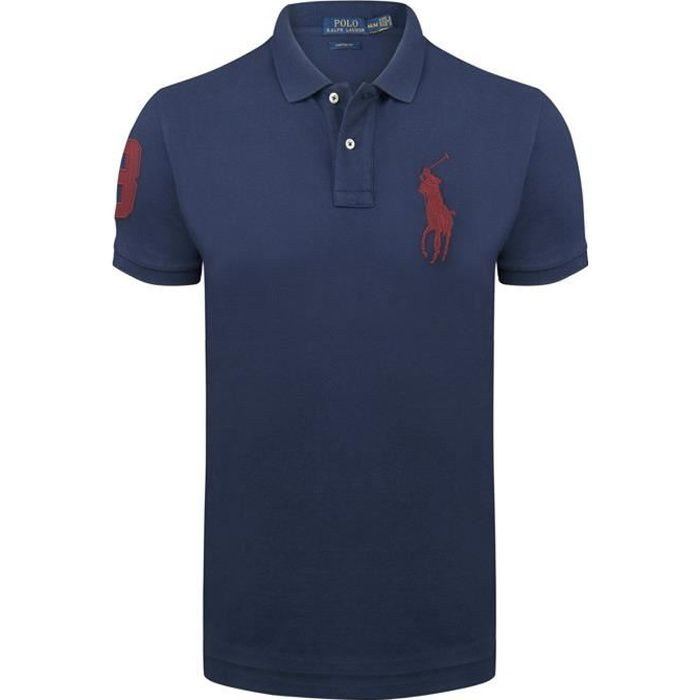 0f3dea859b24 Polo Ralph Lauren Navy Big Pony Rouge slim fit Bleu Navy - Achat ...