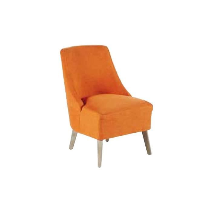 fauteuil club tissu orange et pieds bouleau gris antique. Black Bedroom Furniture Sets. Home Design Ideas