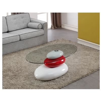 Table basse galet bicolore blanc et rouge verr achat vente table bass - Table basse noir et rouge ...