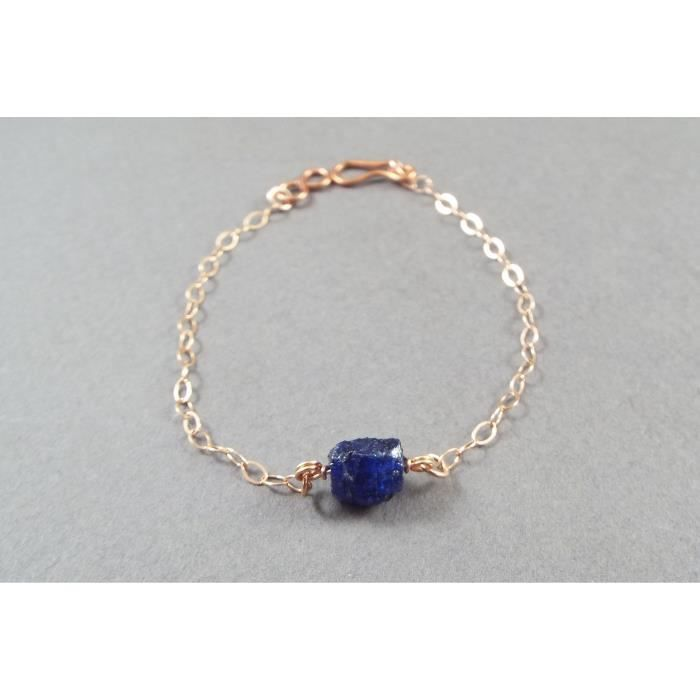 Womens Raw Sapphire Simple Bracelet Rose Gold Filled (small) PPM56