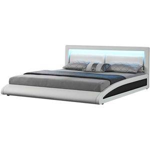 STRUCTURE DE LIT Lit Brixton - Cadre de lit en simili Blanc avec LE