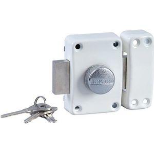 SERRURE - BARILLET Verrou de securite blanc a bouton pour porte av...