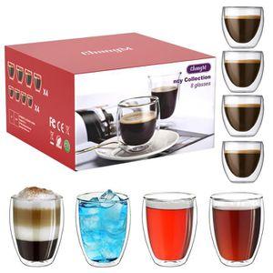 SERVICE À THÉ - CAFÉ Coffret de 6 Tasse à café/Expresso/Espresso en Ver