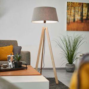 LAMPADAIRE Lampadaire Trepied 'Thea' en bois pour salon & sal