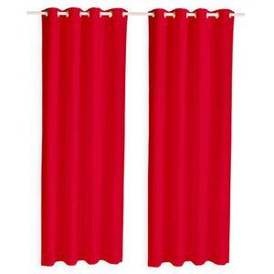 RIDEAU Lot de 2 rideaux occultants à oeillets rouge