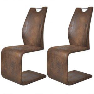 CHAISE 2pcs Chaises en cantilever avec poignées en cuir s