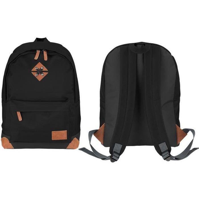 ABBEY Sac à dos de taille moyenne - 100% Polyester 300T - 42 x 30 x 16 cm - Capacité : 20 L - Noir et Gris