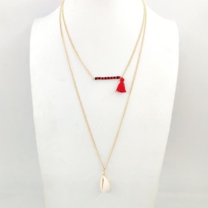 Collier De Perles De Perles De Rocaille Et Glandes_Rouge