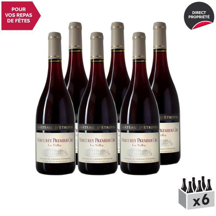 Mercurey 1er Cru Les Velley Rouge 2017 - Lot de 6x75cl - Château d'Etroyes - Vin AOC Rouge de Bourgogne - Cépage Pinot Noir