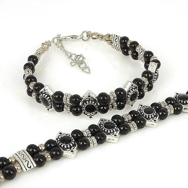 Bijoux fantaisie Bracelets de perles décées Bracelet de bijoux tibétains Options_Noir