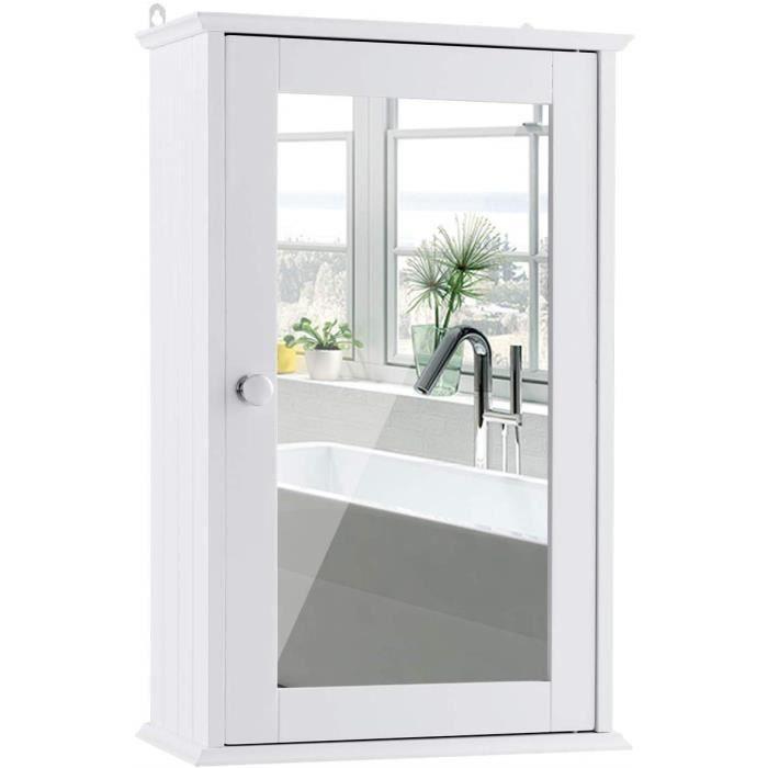 Armoire Mural Salle de Bain Meuble de Toilette avec Miroir et 1 Porte Blanche Armoire à Miroir 34x15x53 CM