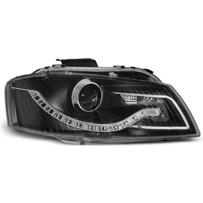 Paire de feux phares Audi A3 8P 03-08 Daylight led noir (U54)