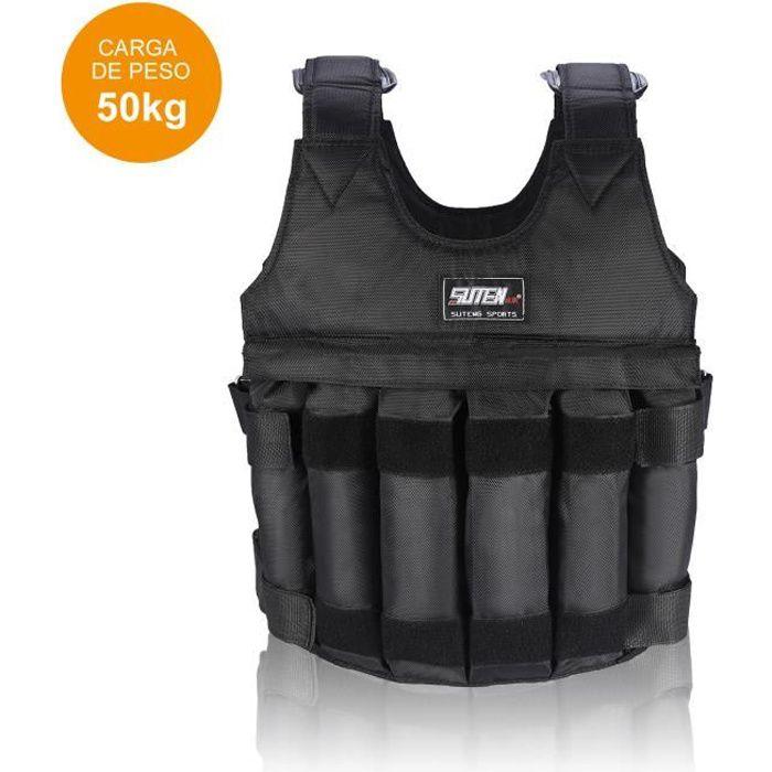 Gilet de veste 50 kg de chargement Poids Gilet d' Exercice Gilet noir réglable Vêtements -ABI