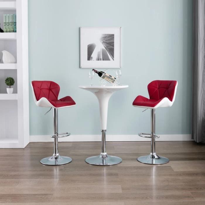 Magnifique Lot de 2 Tabouret de salon Tabouret de bar Design - Chaise de bar - Rouge bordeaux Similicuir ®YYEAYB®