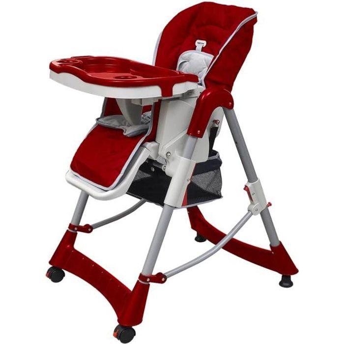 Chaise haute pour bébés enfant baby réglable 60 x 74 x (76-102) cm (l x P x H)- de 6 mois à 4 ans - Bordeaux Hauteur réglable