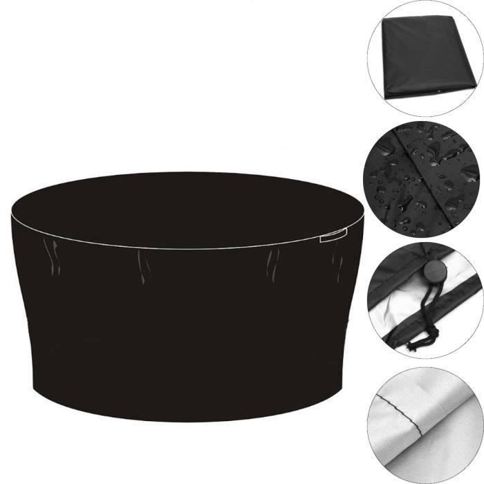180cm Polyester etanche housse de meuble jardin protection de table noir rond Meg18470