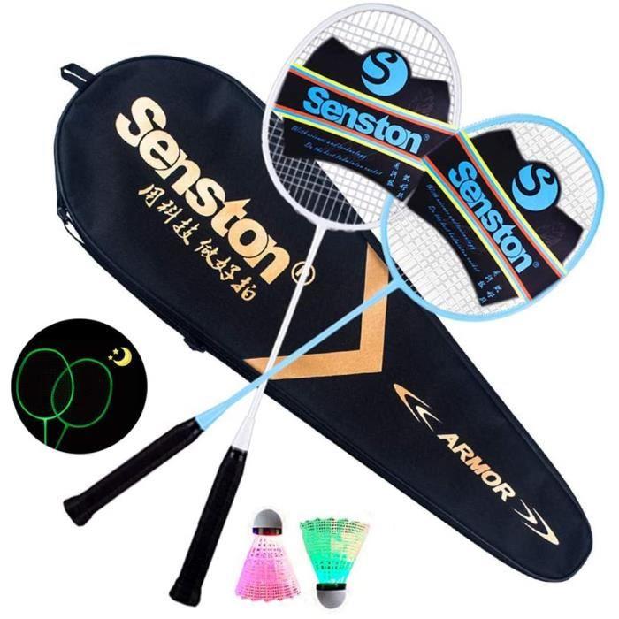 2 Luminous Raquette de Badminton + 2 Volant à LED, Fluorescence Glow in The Dark, Plage Jardin Jeu Sports d'intérieur en Plein