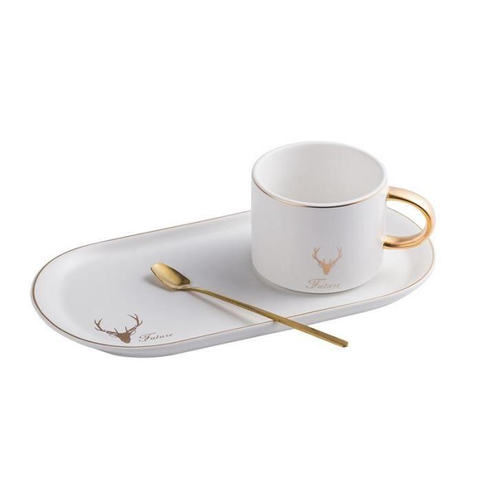 Service à café avec soucoupes,Tasse à café en céramique avec bord doré, ensemble cuillère, assiette à Dessert, tasse, - Type WHITE
