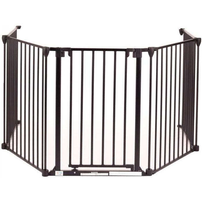 Baby Vivo Barrière Parc en Métal Grille pour Cheminée 4+1 Pare-feu Securité Escaliers en Noir (4 Barreaux avec une Porte) - PREMIUM