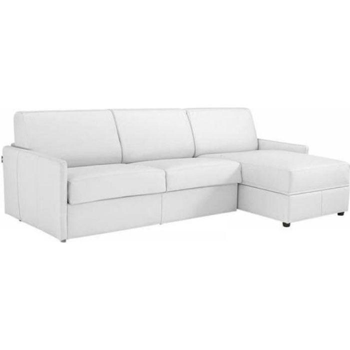 Canapé d'angle SUN convertible EXPRESS 140cm cuir vachette blanc cassé matelas épaisseur 16cm blanc Cuir Inside75