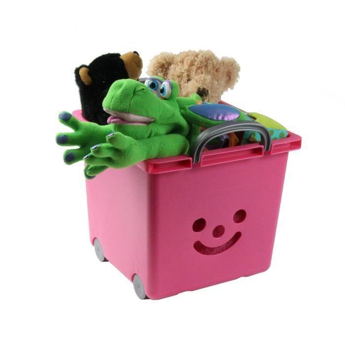 Bac à roulettes empilable en plastique rose pour enfants Rose