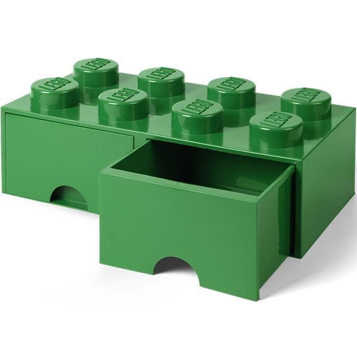 LEGO 40061734 Boîte bac Brique de rangement empilable Légo 8 plots 2 tiroirs Plastique Vert H18 x 25 x 50 cm