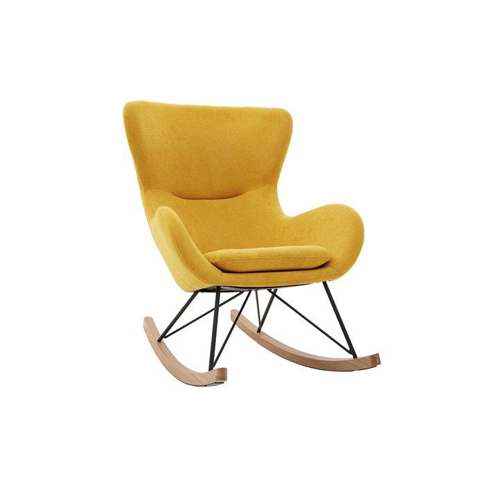 Miliboo - Rocking chair design velours jaune moutarde ESKUA