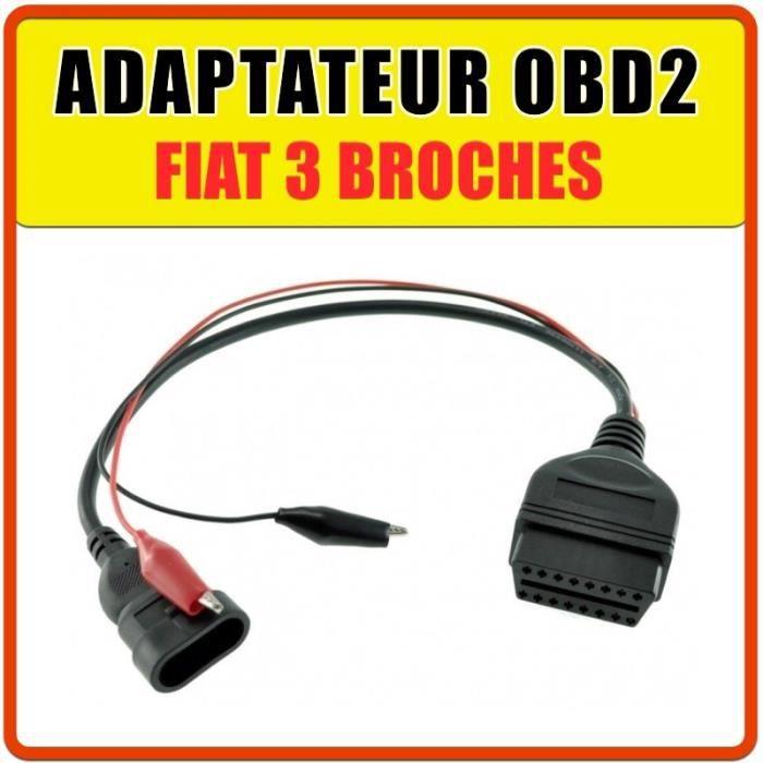 Prise / Adaptateur OBD2 pour Fiat 3 broches - Compatible MULTI ECU SCAN