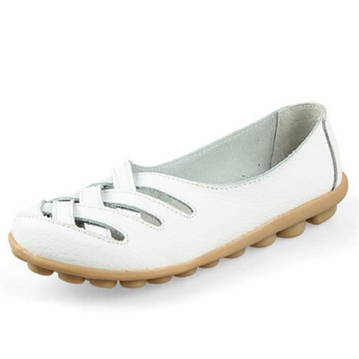 Chaussures Femmes ete Loafer Ultra Leger plate Chaussures BDG-XZ053Blanc38