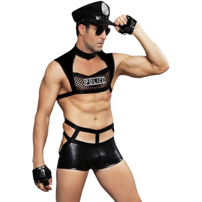 1 ensemble de Costume de Performance de Police de sous-vêtements de détective de police de lingerie tenues pour hommes CASQUETTE