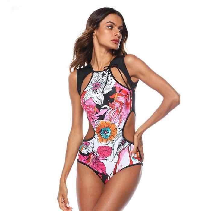 Maillots de bain femme Sports Maillot de bain une pièce Bikini Beachwear Bathing Monikini Miaienu 714